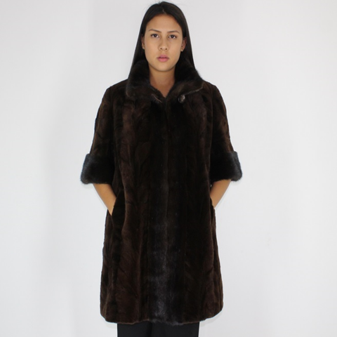 Ranch mink pieces vest with mink trimming