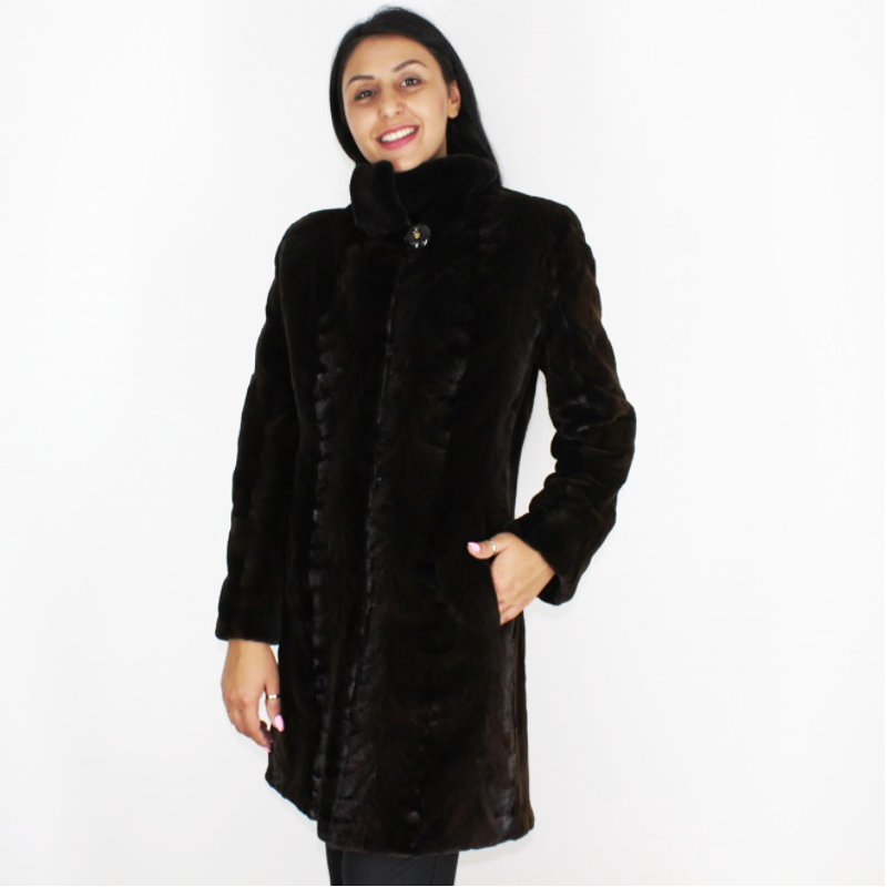 Ranch shaved mink pieces coat