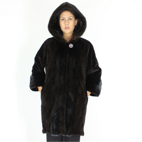 Ranch shaved mink pieces coat with hood and mink trimming