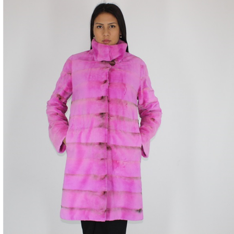 Fuchsia colored shaved mink coat