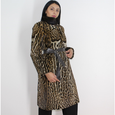 Ocelot coat with brown mink collar