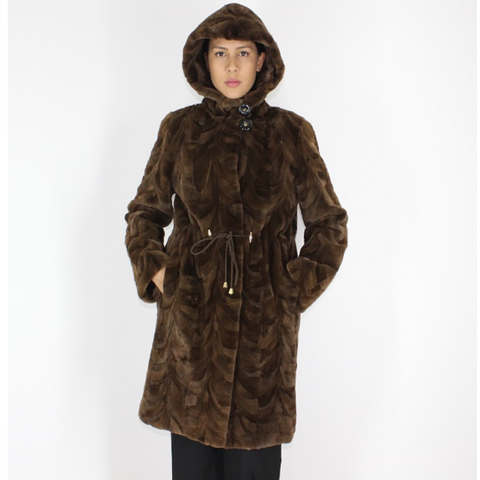 Demi-buff shaved mink pieces ¾ coat with hood