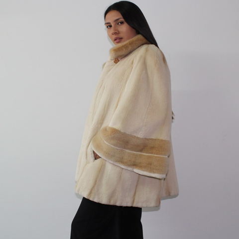 Pearl shaved mink coat with mink trimming