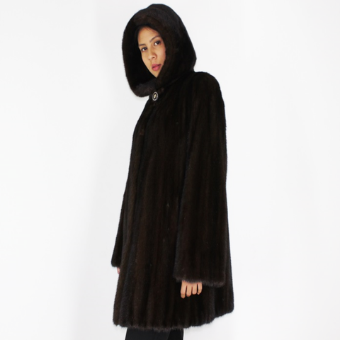 Demi-buff mink ¾ coat with hood