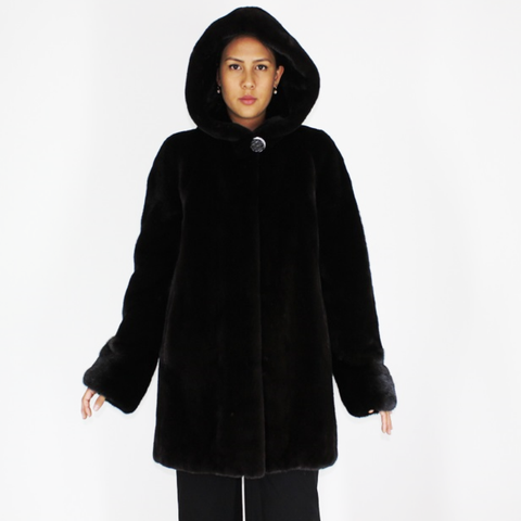 Blackglama ¾ coat with hood