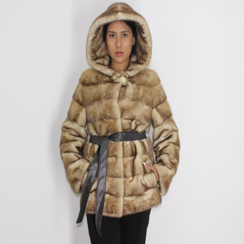 Sahara mink jacket with hood