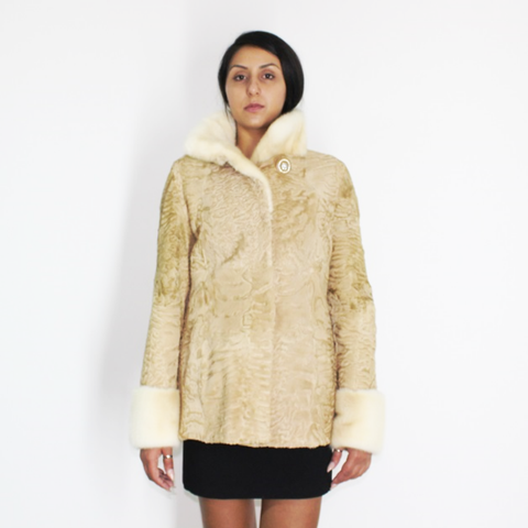 Astrakhan pearl jacket with pearl mink trimming