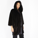 Ranch mink coat with hood
