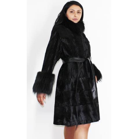 Broadtail Astrakhan black coat with black fox trimming