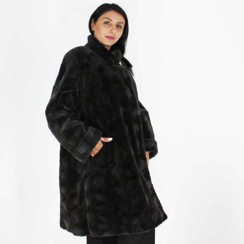 Grey-brown shaved mink pieces coat