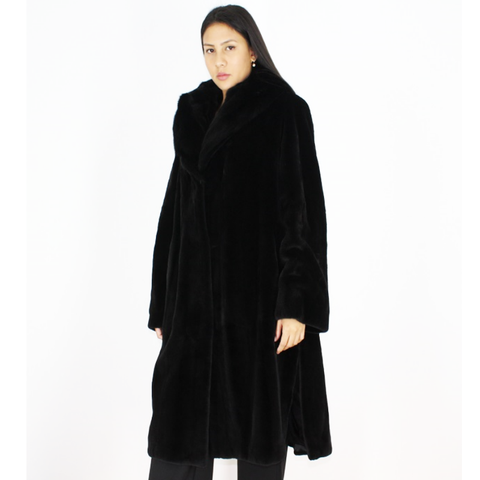 Black shaved mink coat with hood