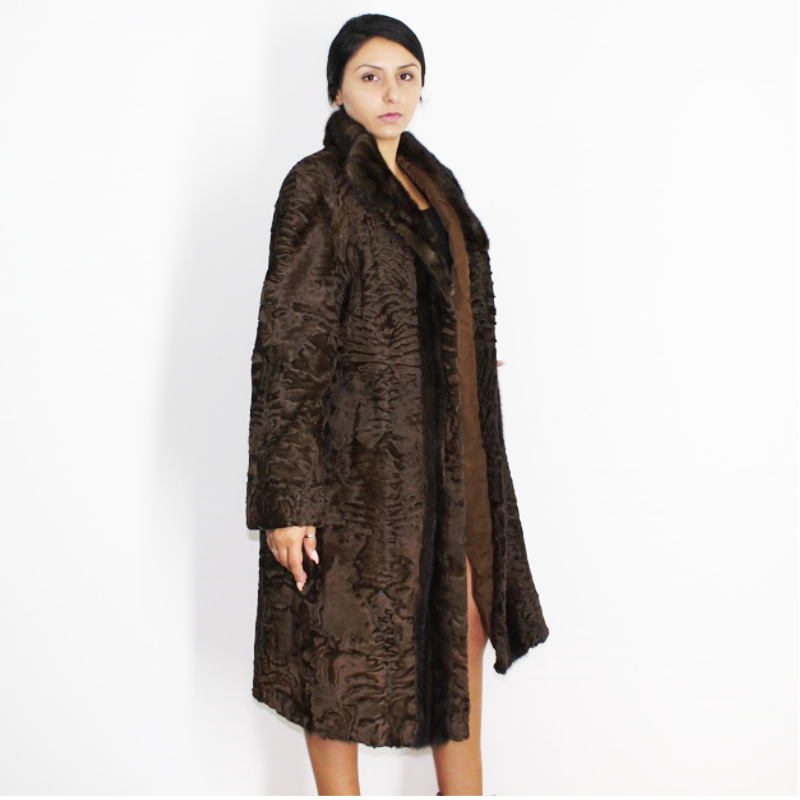 Astrakhan brown coat with brown mink trimming
