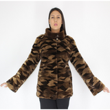 Brown shades shaved mink pieces jacket