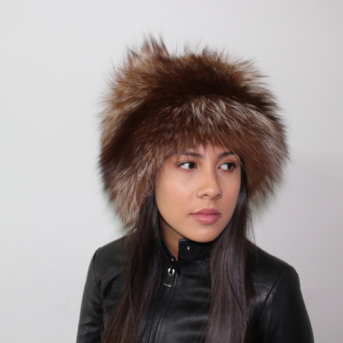 Brown Silver fox hat