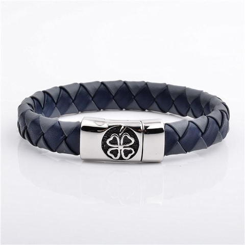 Blue Nappa Leather Bracelet with Silver Clover in Luxury Style