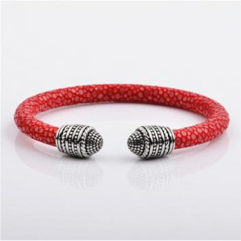 Red Stingray leather Cuff Bracelet with Silver Charm In Luxury Style