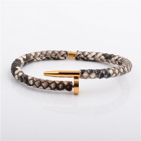 Gold Nail Bracelet with Python Leather in Luxury Style