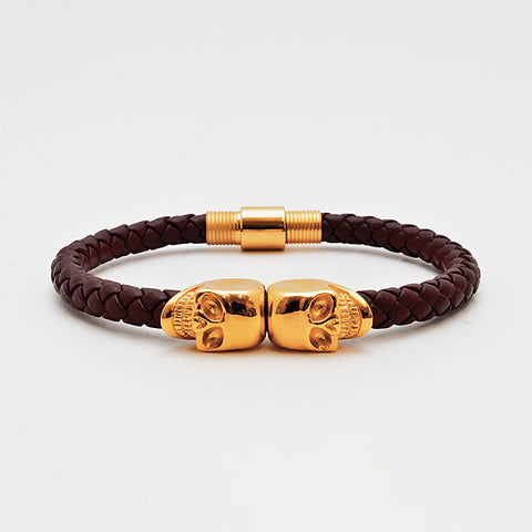 Red Nappa Leather with Gold Twin Skull Bracelet in Luxury Style