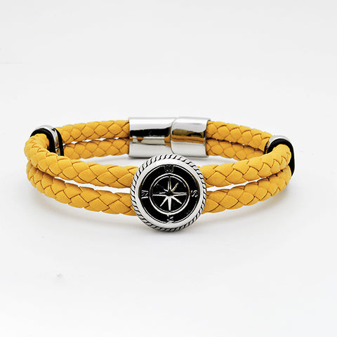 Silver Compass Bracelet with Mustard Nappa Leather in Luxury Style