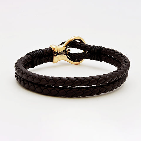 Rose Gold Charm with Brown Nappa Leather Bracelet in Luxury Style