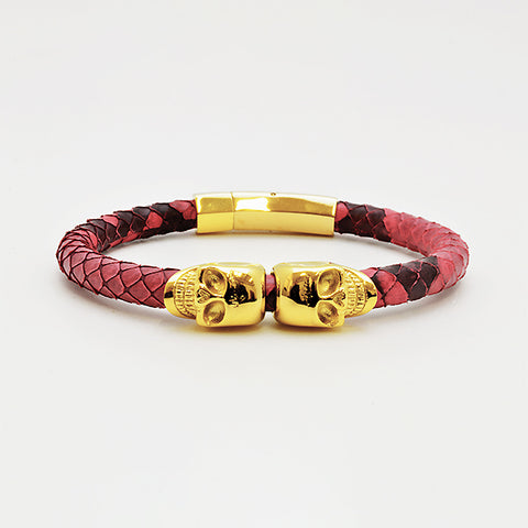 Red & Black Python Leather with Gold Twin Skull in Luxury Style