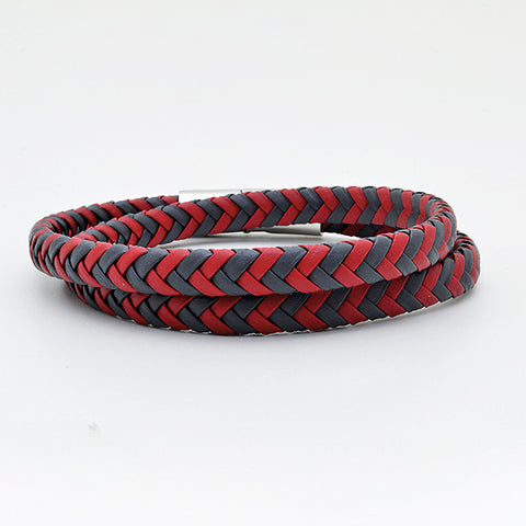 Red & Grey Nappa Leather Bracelet with Silver Clasp in Luxury Style