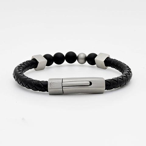 Black Nappa Leather Bracelet with Matte Agate Bead Stone & Silver Matte Charm