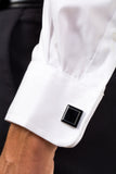 Closeup View Of Athletic Fit Missionary Dress Shirt With Cuff Link
