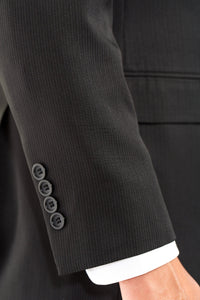 Modern Fit Lightweight Black Pinstripe LDS Missionary Suit