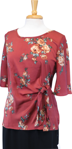 Rose Wrap Tie Blouse