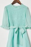 Dobby Ruffle Smock Dress