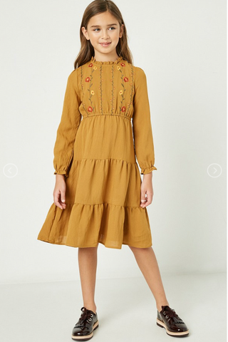 Long Sleeve Embroidered Tiered Midi Dress