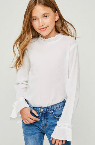 Ruffled Mock Neck Top