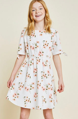 Floral Tie-Sleeve Babydoll Dress