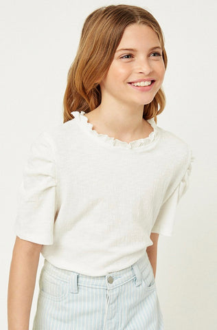 Ruffle High Neck Puff Sleeve Top