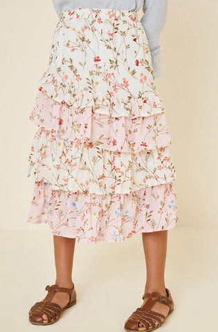 Tiered Ruffle Floral Midi Skirt