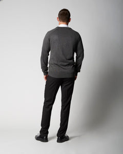 V-Neck Missionary Sweater Long Sleeve Charcoal by CTR Clothing