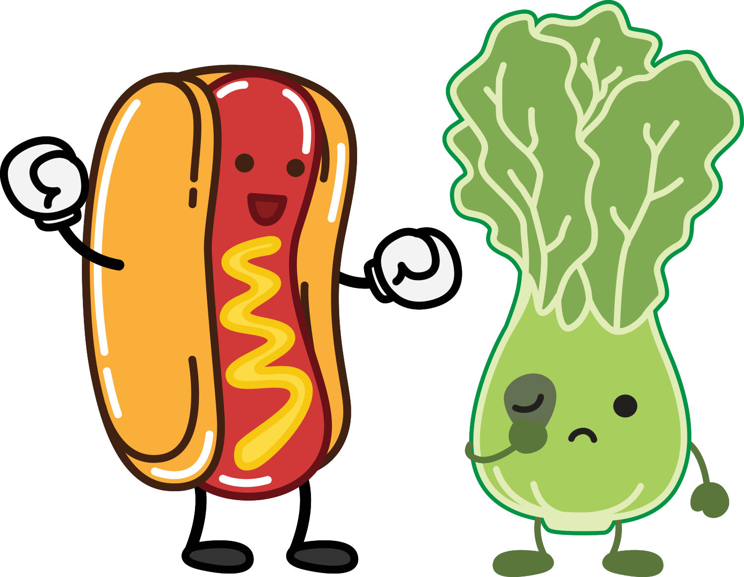 Hot Dog vs Salad White