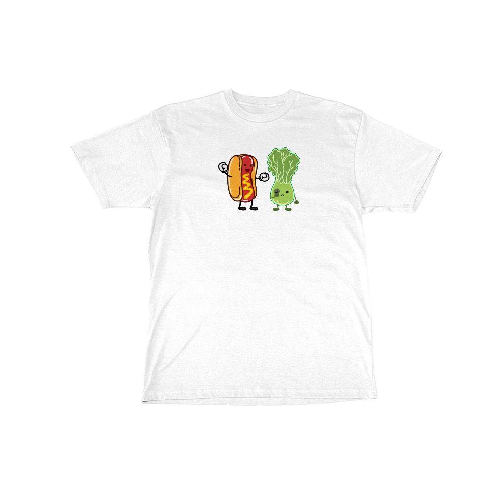 Hot Dog vs Salad Tee White