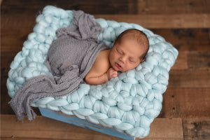 NEW pale blue newborn photo prop chunky bump blanket