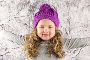NEW purple orchid pom beanie winter hat