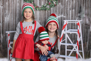 NEW color combinations for our striped Christmas hat with giant pom pom