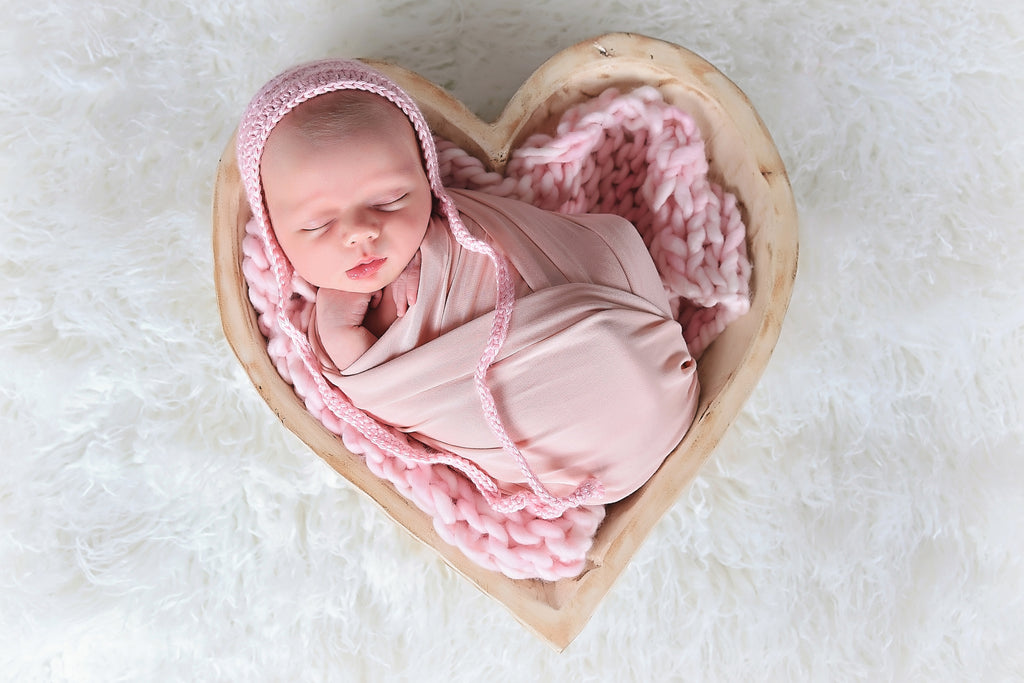 NEW pale pink newborn baby bonnet