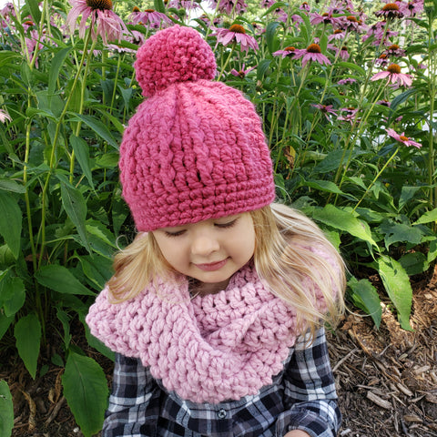 Two Seaside Babes 2019 Fall Collection - Pink Blossom Infinity Scarf & Raspberry Pink Pom Beanie