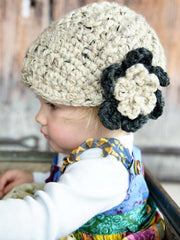 Oatmeal and charcoal gray flower beanie winter hat by Two Seaside Babes