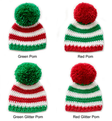 4 color combinations striped Christmas hat with giant pom pom by Two Seaside Babes