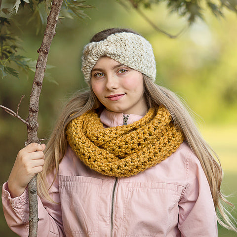 Two Seaside Babes 2019 Fall Collection - Mustard Infinity Cowl Winter Scarf & Cream Sparkle Knotted Bow Winter Headband