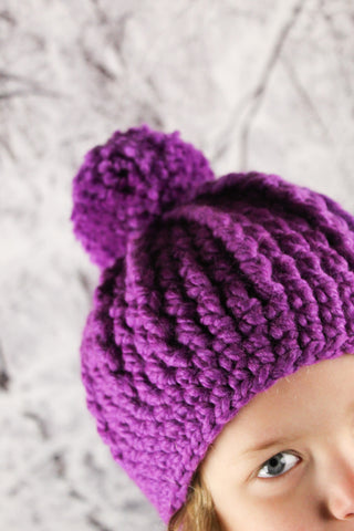 Purple orchid pom beanie winter hat by Two Seaside Babes
