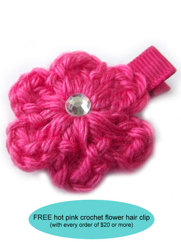 Hot pink crochet flower hair clip | FREE with $20 order