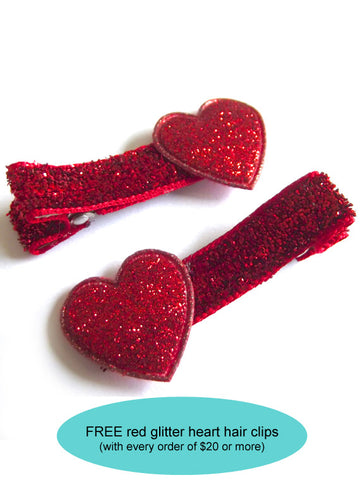 FREE red glitter heart hair clips | FREE with $20 order